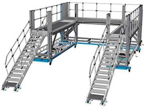 Gurítható alumínium frontoldali munkaállvány vonatok megközelítéséhez