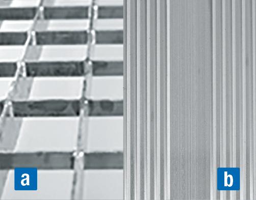 Felfüggesztett tető-munkaállvány – a) járórács b) bordázott alumínium