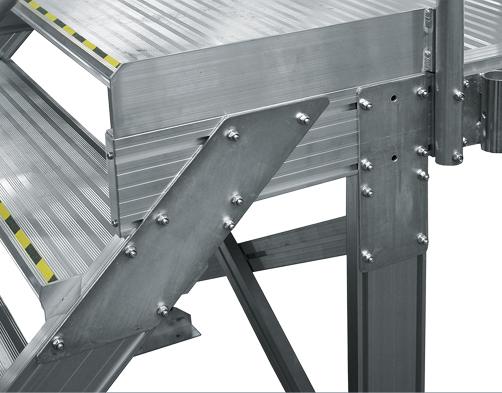 Talajhoz rögzített oldalsó és tető-munkaállvány – Lépcsőcsatlakozás a felső járófelülethez